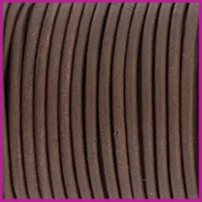 DQ leer rond 2 mm vintage finish brown per 50cm