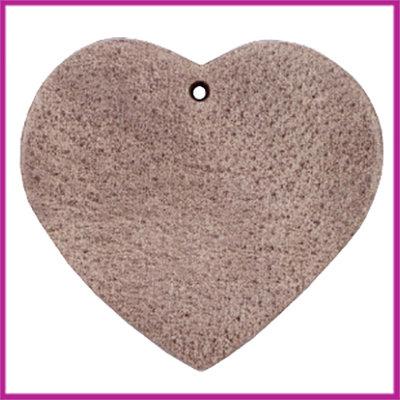 DQ leer hanger hart ca. 5x5,5cm chocolate brown