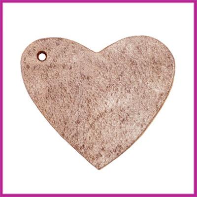 DQ leer hanger hart ca. 4x4,5cm smoke cognac brown