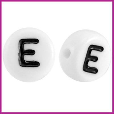 Letterkraal acryl wit/zwart rond 7 mm E