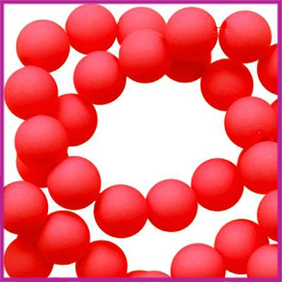 Acryl kraal mat rond 6mm True red