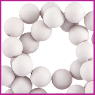 Acryl kraal mat rond 6mm Light violet grey