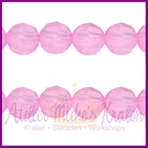 Acryl facet kraal rond 6mm lila roze opaal