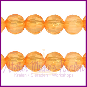 Acryl facet kraal rond 6mm oranje opaal