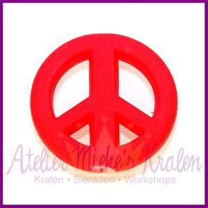 Acryl kraal Peace rond 20mm fel rood