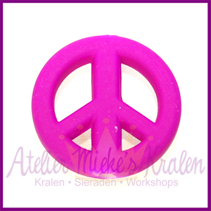 Acryl kraal Peace rond 20mm paars