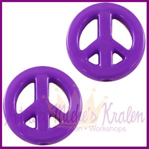 Acryl kraal Peace rond 16mm paars