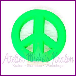 Acryl kraal Peace rond 20mm neon groen