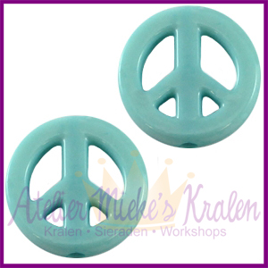 Acryl kraal Peace rond 16mm donker turquoise