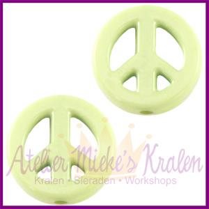 Acryl kraal Peace rond 16mm soft lime groen
