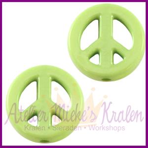 Acryl kraal Peace rond 16mm groen
