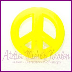 Acryl kraal Peace rond 20mm neon geel
