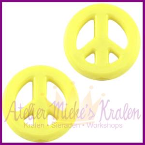Acryl kraal Peace rond 16mm geel