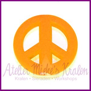 Acryl kraal Peace rond 20mm neon oranje