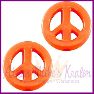 Acryl kraal Peace rond 16mm oranje