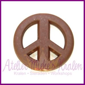 Acryl kraal Peace rond 20mm bruin
