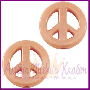 Acryl kraal Peace rond 16mm nude beige bruin