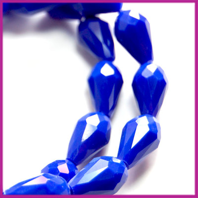 Glaskraal facet druppel 8x11mm Cobalt blauw opaque
