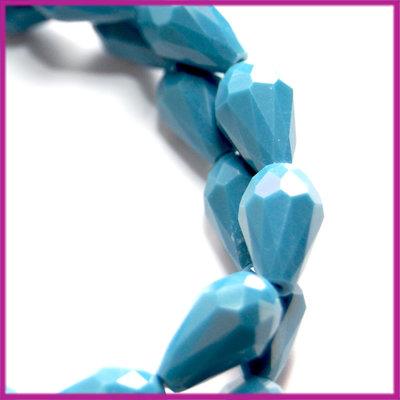 Glaskraal facet druppel 8x11mm Vintage blauw