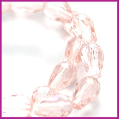 Glaskraal facet druppel 8x11mm Light roze peach