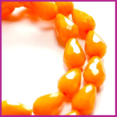 Glaskraal facet druppel 8x11mm Oranje opaque