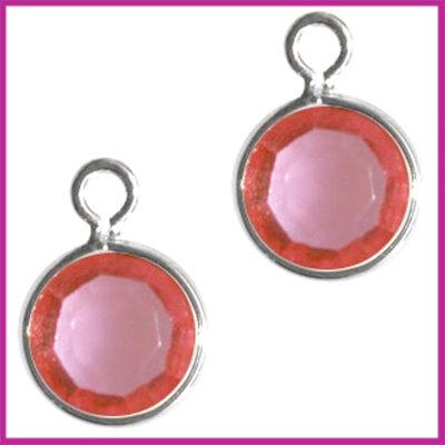 DQ facethanger gekleurd 10x7mm Zilver - roze