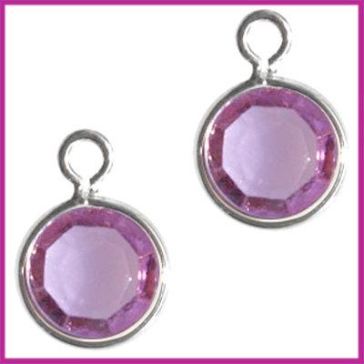DQ facethanger gekleurd 10x7mm Zilver - lila purple