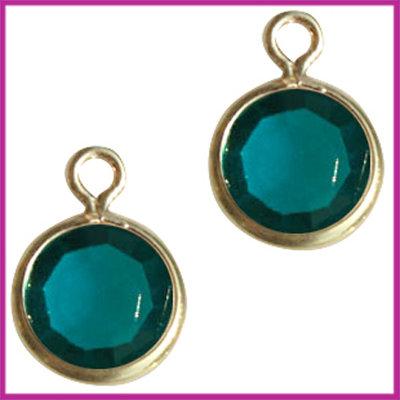 DQ facethanger gekleurd 10x7mm Goud - turquoise blauw