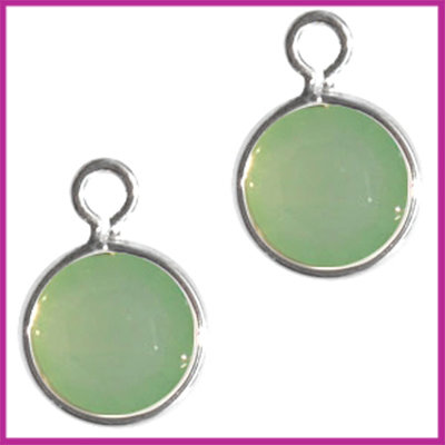 DQ facethanger gekleurd 10x7mm Zilver - chrysolite green