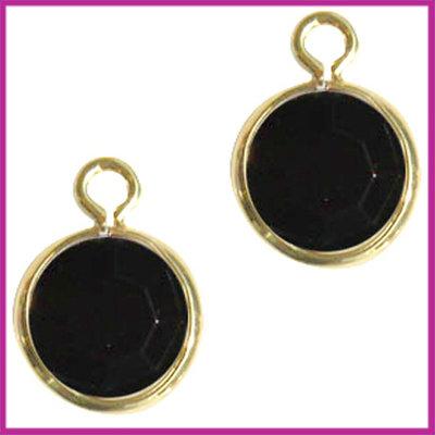 DQ facethanger gekleurd 10x7mm Goud - zwart opaque