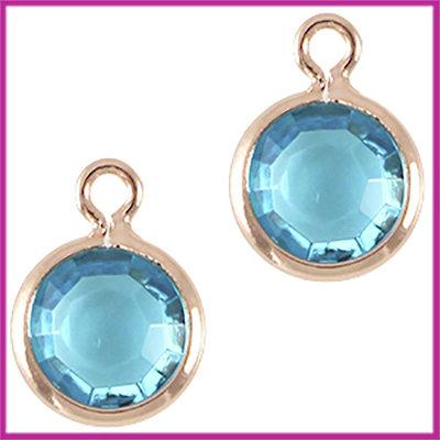 DQ facethanger gekleurd 10x7mm Rosegold - azuur blauw