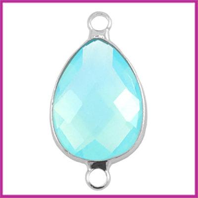 Crystal glas druppel tussenstuk zilver - aqua blue opal