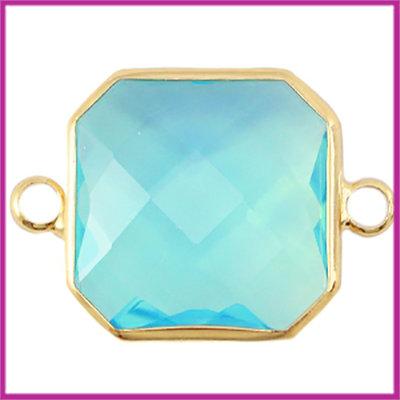 Crystal glas vierkant tussenstuk goud - aqua blue opal