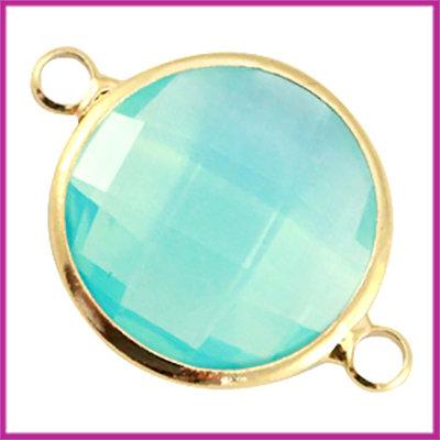 Crystal glas rond tussenstuk goud - Aqua blue