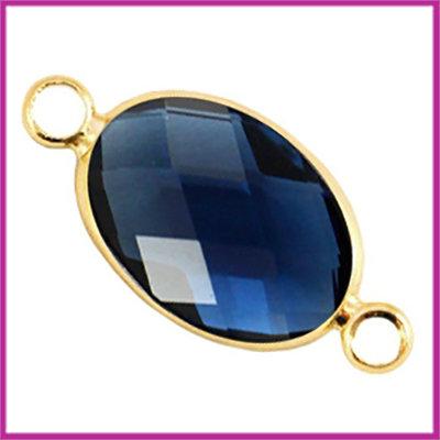 Crystal glas ovaal tussenstuk goud - denim blue