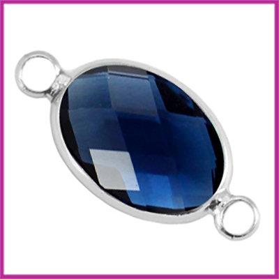 Crystal glas ovaal tussenstuk zilver - denim blue