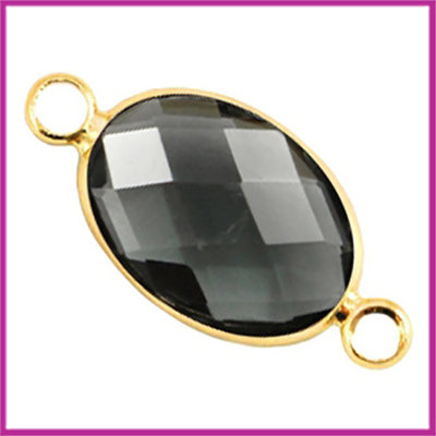Crystal glas ovaal tussenstuk goud - antraciet grijs