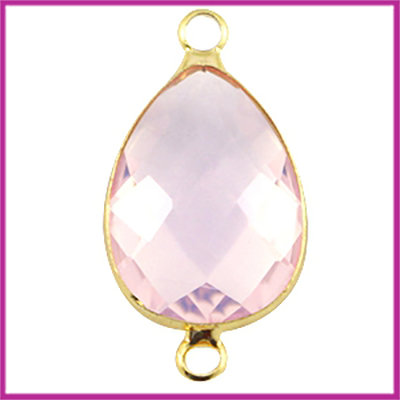 Crystal glas druppel tussenstuk goud - light rose opal