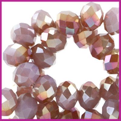 Glaskraal top facet disc 6x4mm Violet opal half diamond