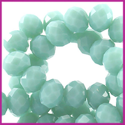 Glaskraal top facet disc 6x4mm Pastel donker turquoise opaque