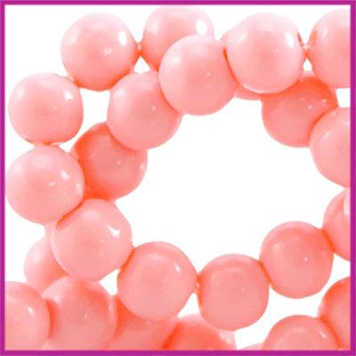 Glaskraal opaque ø6mm Licht padparadscha roze