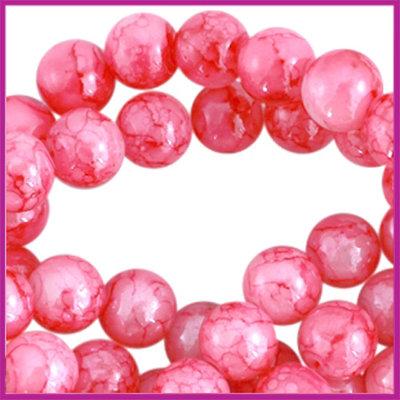 Glaskraal ø6mm gemêleerd Magenta roze