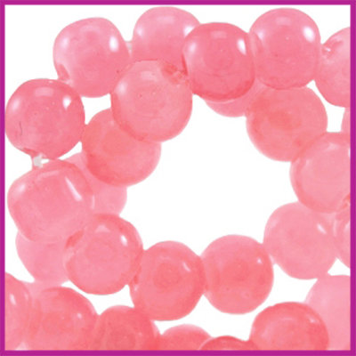 Glaskraal ø6mm opaal vintage Padparadscha roze