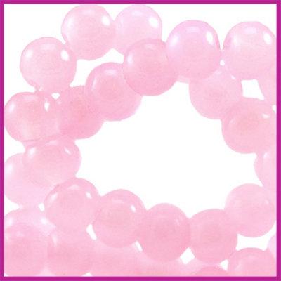 Glaskraal ø6mm opaal vintage Licht roze