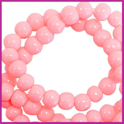 Glaskralen basic opaque ø3mm neon coral pink
