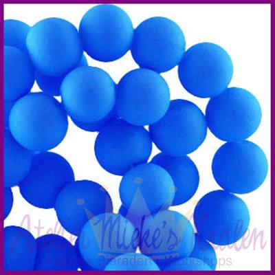 Glaskraal rond ø6mm mat Cobalt blauw