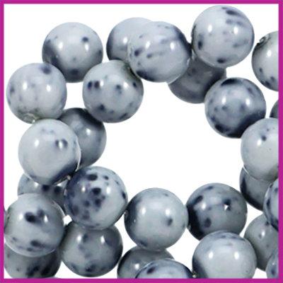 DQ glaskralen marmerlook ø6mm Donker blauw - grijs