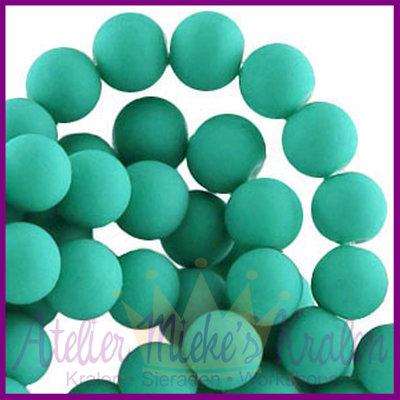 Glaskraal rond ø6mm mat Emerald groen
