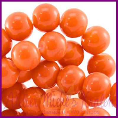 Glaskraal baked - keramisch ø8mm Coral oranje