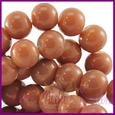 Glaskraal baked - keramisch ø8mm Nude beige bruin